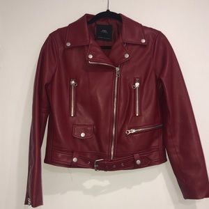 Zara deep red Leather jacket